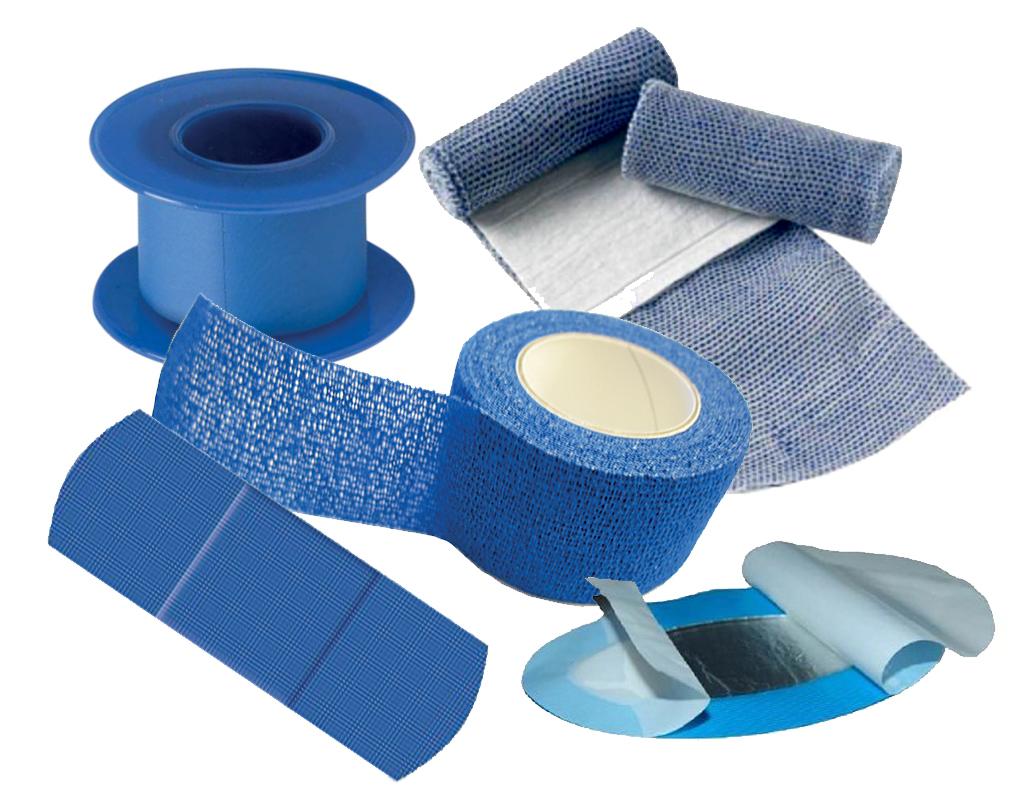Sparadraps bleus détectables