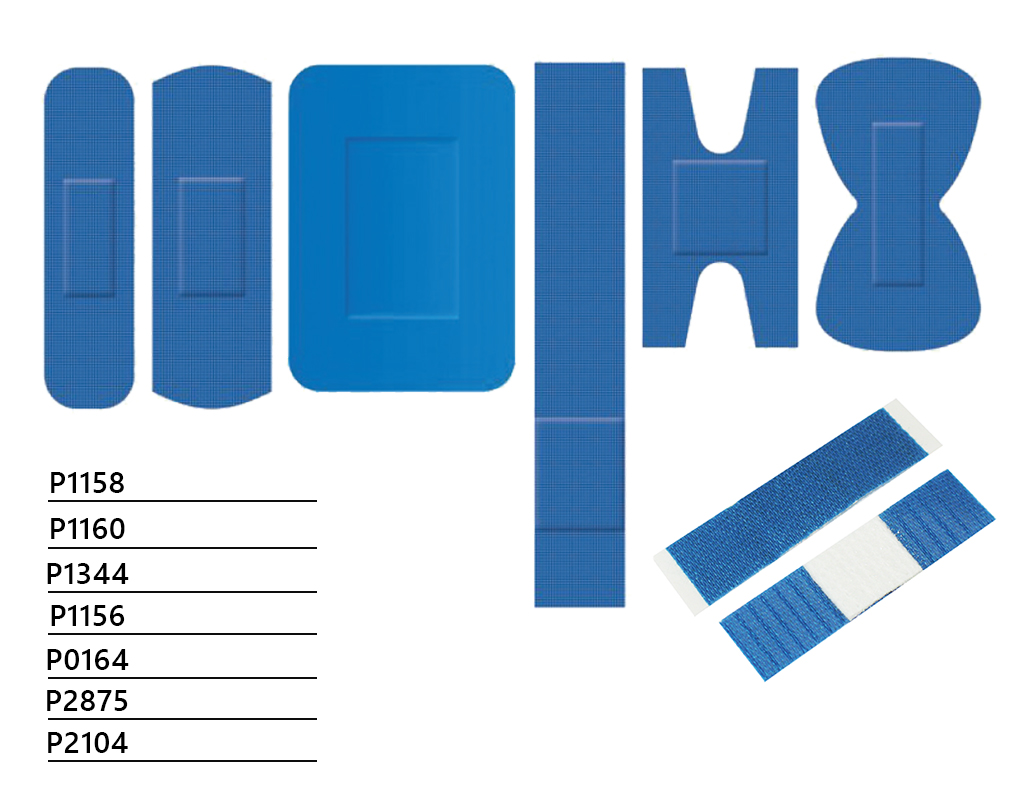 Blaue detektierbare Textil-Pflaster