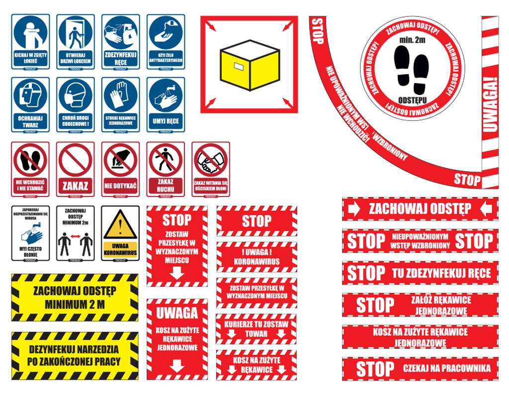 Znaki i informacje - zagrożenie zakażeniem