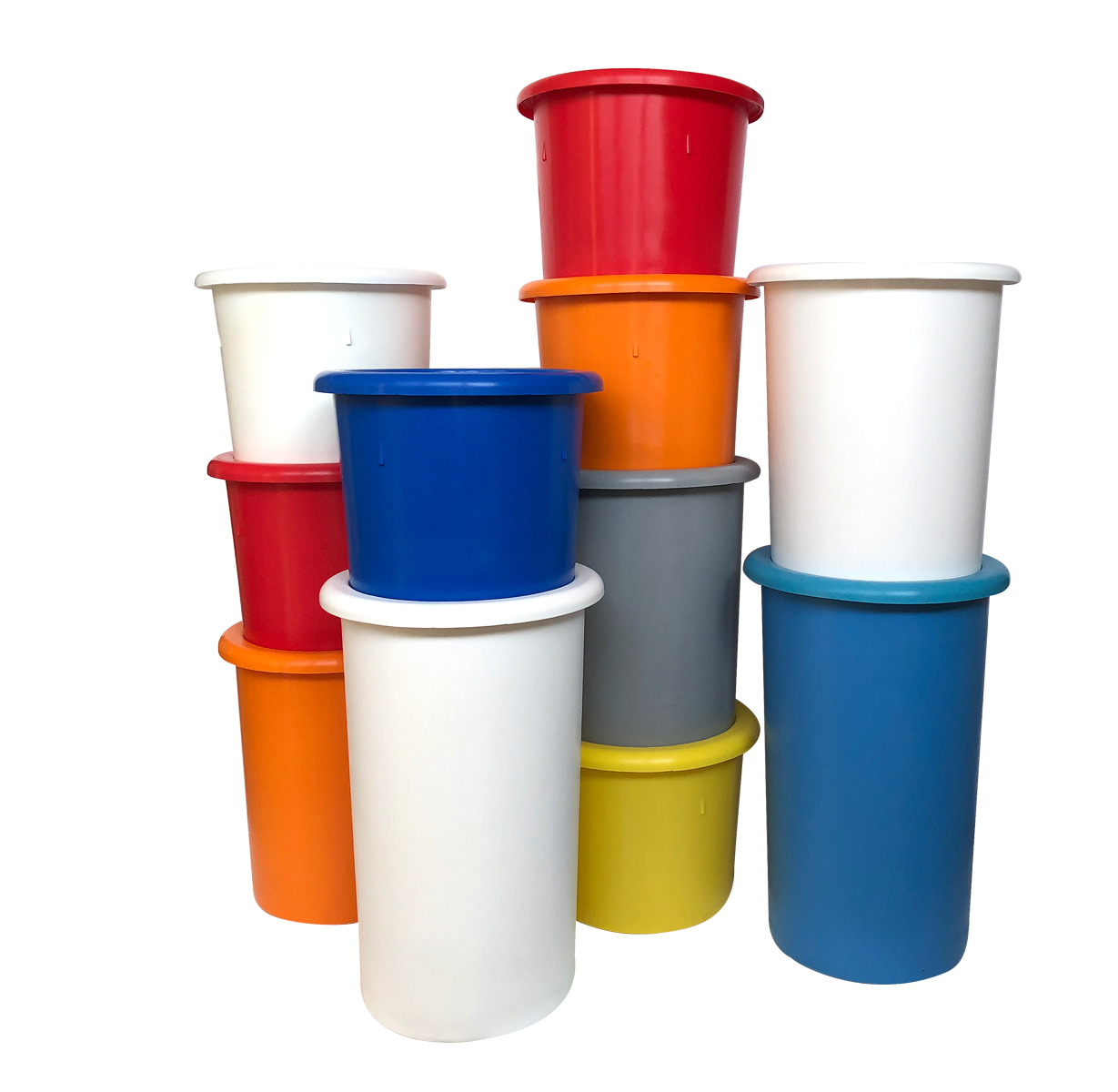 Colour coded interstacking bins